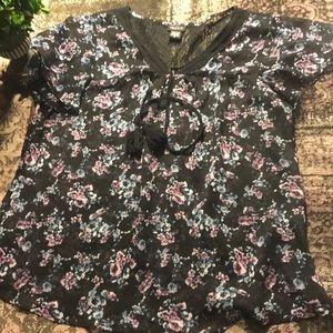 TORRID Black Floral Blouse